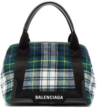 Balenciaga Cabas S Plaid Bag - Womens - Green Multi
