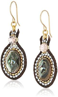 Miguel Ases Small Shell and Swarovski Open Edge Leather Drop Earrings