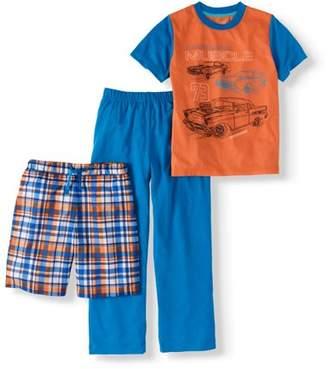 Cherokee Boys' Muscle Car Tee, Shorts and Pants 3-Piece Sleep Set (Big Boys & Little Boys)