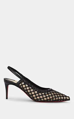 Christian Louboutin Women's Woven Leather & Mesh Slingback Pumps - Black