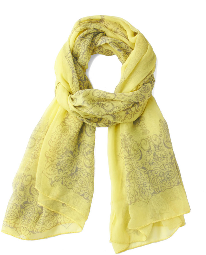 Through the Garden Great Scarf in Yellow