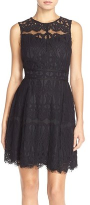 Women's Adelyn Rae Illusion Yoke Lace Fit & Flare Dress $108 thestylecure.com