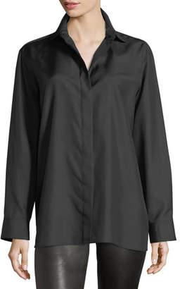 The Row Button-Front Long-Sleeve Silk Shirt