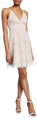 Dress the Population Piper V-Neck Sleeveless Lace Dress