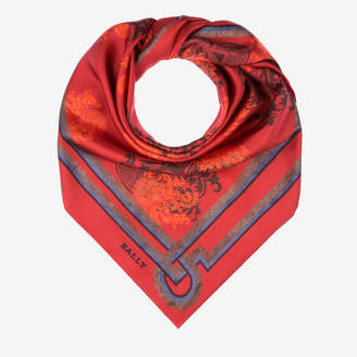 Bally Crest Print Silk Scarf