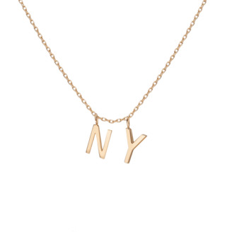 AUrate New York Double Mini Gold Letter Charm Pendant