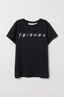 H&M T-shirt with Printed Design - Black