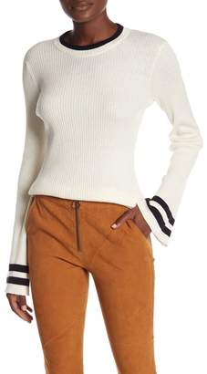 Frame Bell Sleeve Crew Neck Ribbed Sweater