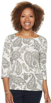 Croft & Barrow Petite Button-Shoulder Boatneck Top