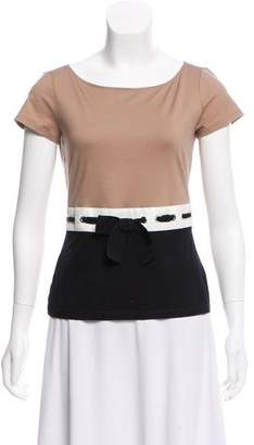 Paule Ka Bow Accented Short Sleeve Top