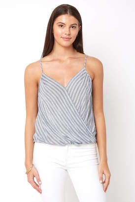 Abbeline Stripe Wrap Surplice Tank Top