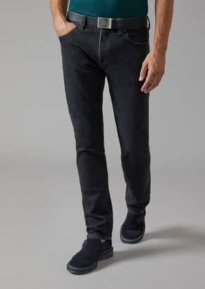 Giorgio Armani Regular Fit Slub Denim Jeans