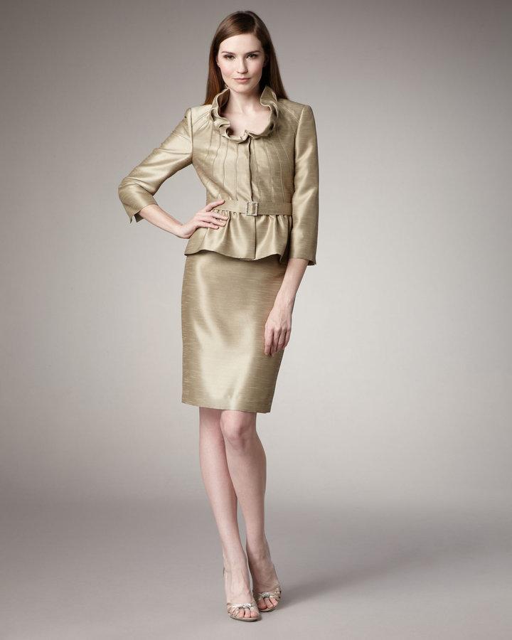 Tahari Shantung Peplum Suit