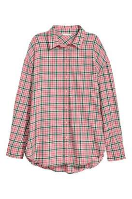 H&M Flannel Shirt - Pink/checked - Women