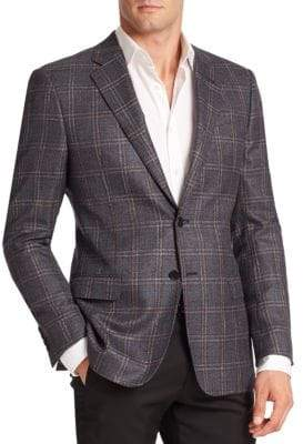 Armani Collezioni Windowpane Silk& Wool Sportcoat