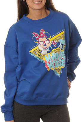 Asstd National Brand Minnie Mouse Juniors' Lounging with Sunglasses Neon Crewneck Graphic Sweatshirt