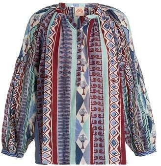 Le Sirenuse Le sirenuse, positano Le Sirenuse, Positano - Sun Arlechino Print Cotton Shirt - Womens - Blue Multi