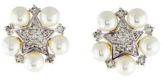 Judith Leiber Faux Pearl & Crystal Star Clip-On Earrings
