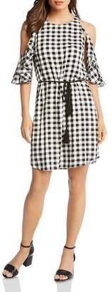 Karen Kane Gingham Ruffled Cold-Shoulder Dress