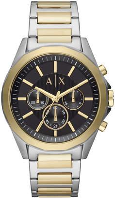 Armani Exchange Men Chronograph Drexler Two-Tone Stainless Steel Bracelet Watch 44mm