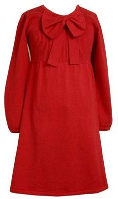 Bonnie jean 7-16 bow-detail sweater dress
