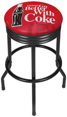 Trademark Gameroom Coke Black Ribbed Bar Stool
