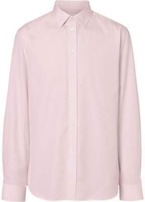 Burberry Slim Fit Micro Check Cotton Poplin Shirt