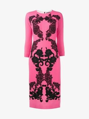 Dolce & Gabbana rose embroidered crepe dress