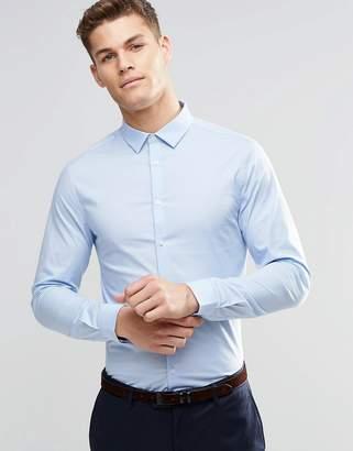 Asos DESIGN Skinny Shirt In Blue
