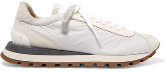 Brunello Cucinelli Suede, Shell And Textured-leather Sneakers - White