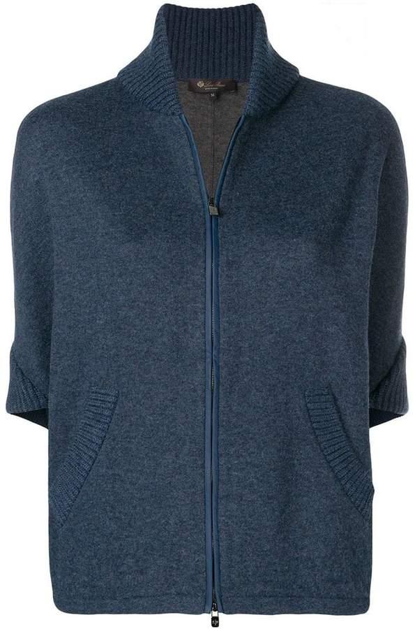 zipped short-sleeve cardigan