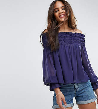 Asos Tall Off Shoulder Top With Shirring