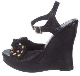 Thomas Wylde Leather Wedge Sandals