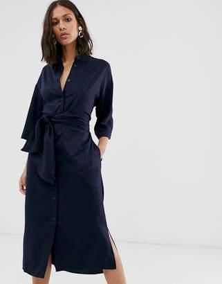 NATIVE YOUTH button through midi shirt dress with tie waist