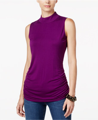 INC International Concepts Ruched Mock-Turtleneck Top, Only at Macy's $39.50 thestylecure.com