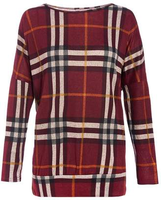 Quiz Red And Black Light Knit Check Top