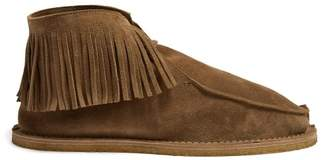 Saint Laurent Fringed Suede Desert Boots - Mens - Brown
