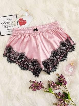 Shein Floral Lace Satin Sleep Shorts
