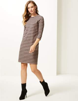 Marks and Spencer Cotton Blend Checked 3/4 Sleeve Shift Dress