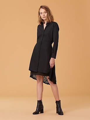 Diane von Furstenberg Lace Back Cotton Shirt Dress