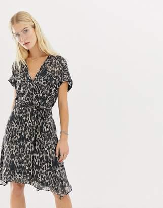 AllSaints Claria leopard wrap dress