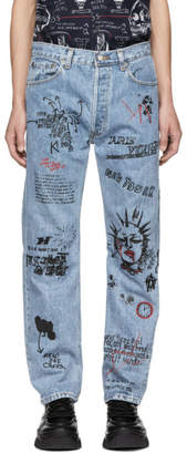 R 13 Blue Repurposed Graffiti Jeans