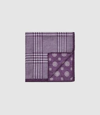 Reiss OWEN DOUBLE SIDED SILK POCKET SQUARE Purple