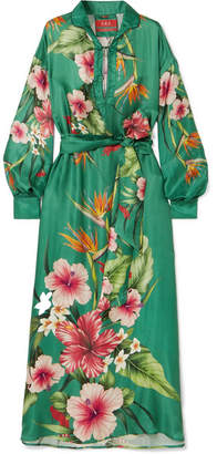 F.R.S For Restless Sleepers Anfitrite Floral-print Satin-jacquard Maxi Dress - Green