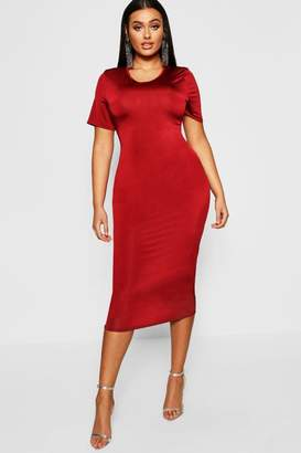 boohoo Plus Slinky Cap Sleeve Midi Dress
