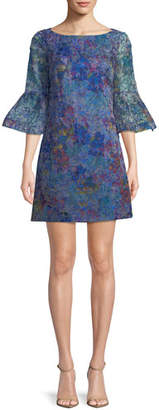 Badgley Mischka Floral Organza Trumpet-Sleeve Mini Dress