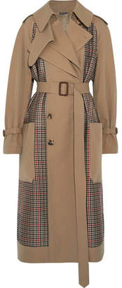Alexander McQueen Gabardine And Prince Of Wales Checked Tweed Trench Coat - Sand