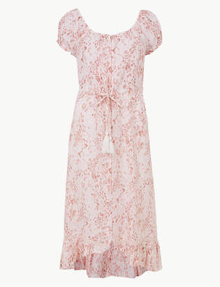 Marks and Spencer PETITE Pure Linen Midi Waisted Dress