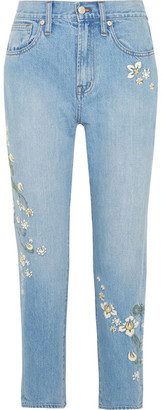 Madewell - Embroidered High-rise Straight-leg Jeans - Mid denim $150 thestylecure.com