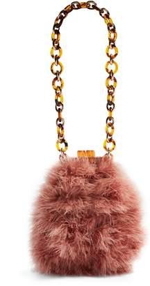 Topshop Marabou Feather Frame Handbag